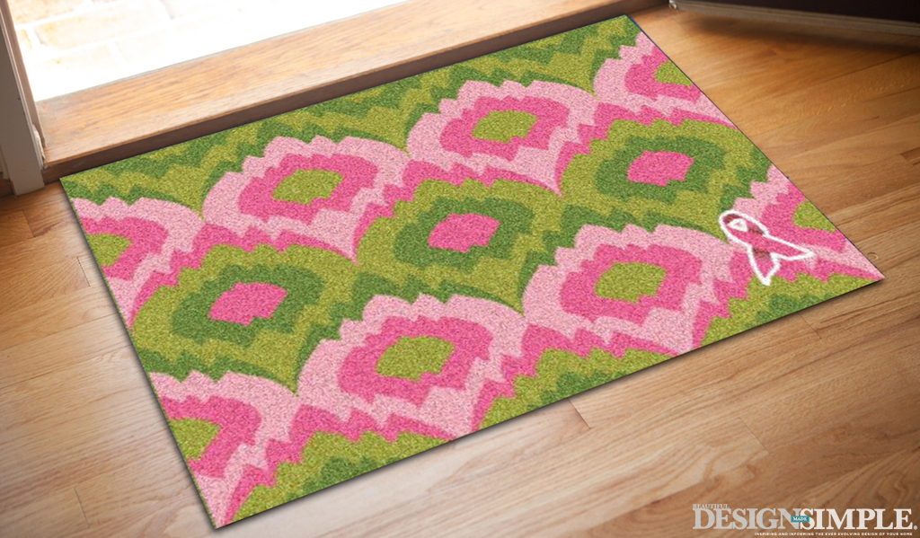 Kristie-Barnett-Pink-Ribbon-Welcome-Mat